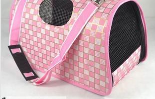 Envío gratis, bolsa de mascotas, bolsa de perro, bolsa de mascotas plegable, rejilla de Milán, rosa, 1pc para la venta