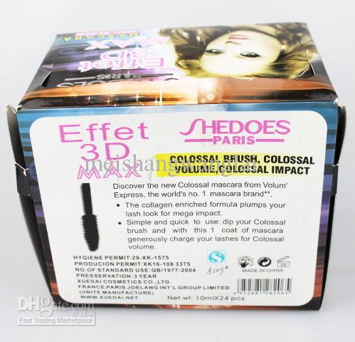 / Mascara 3D Effet a prueba de agua con el rimel del volumen de Extrat de la perla negra 10ml 8209 #