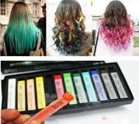 Wholesale Color Hair Dye Set - Chalk Color Hair Temporary Hair Color Dye Pastel Chalk Bug Rub Soft Fencai Bar 12 Pieces Set