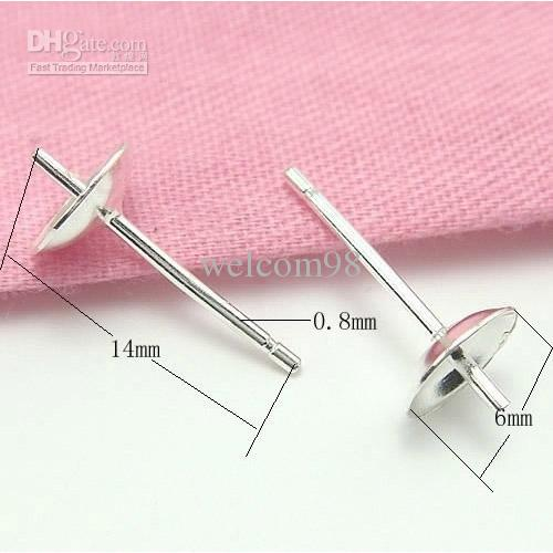 925 Sterling Silver Earring Needles Finding For DIY Craft Jewelry 0.8x6x14mm WP042