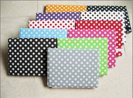 Wholesale Dots Back Cover Protector Cases - For NEW IPAD ipad2 Folio Leather Cases Polka dots with Hard back Plastic covers Stands Protectors 3