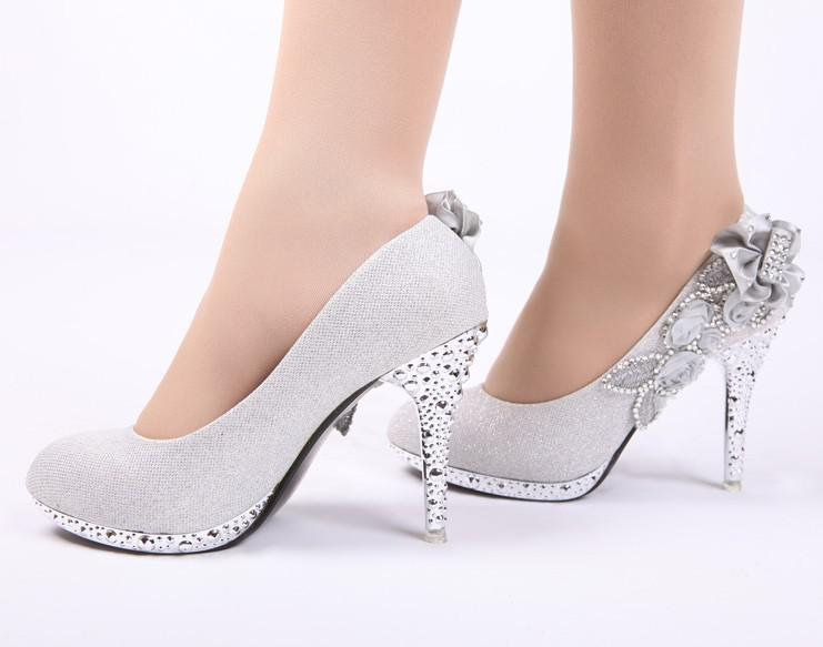 Hot Sales Women Fashion High Heeled Shoes Bridal Wedding Dress Shoes Gray Sequins Cloth Size 35-39 High Quality