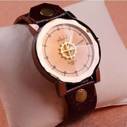 Wholesale Vintage Diamond Watches - Vintage Fashion Gear Handmade 100% Genuine Leather Strap Watches Diamond Women Men Wristband Watch xma gifts
