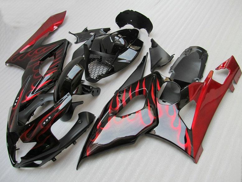 Czerwony płomień w czarnym zestawie do obróbki dla Suzuki GSX-R1000 2005 2006 7 GIFTS + SEAT Cowl K5 GSXR1000 GSXR 1000 05 06