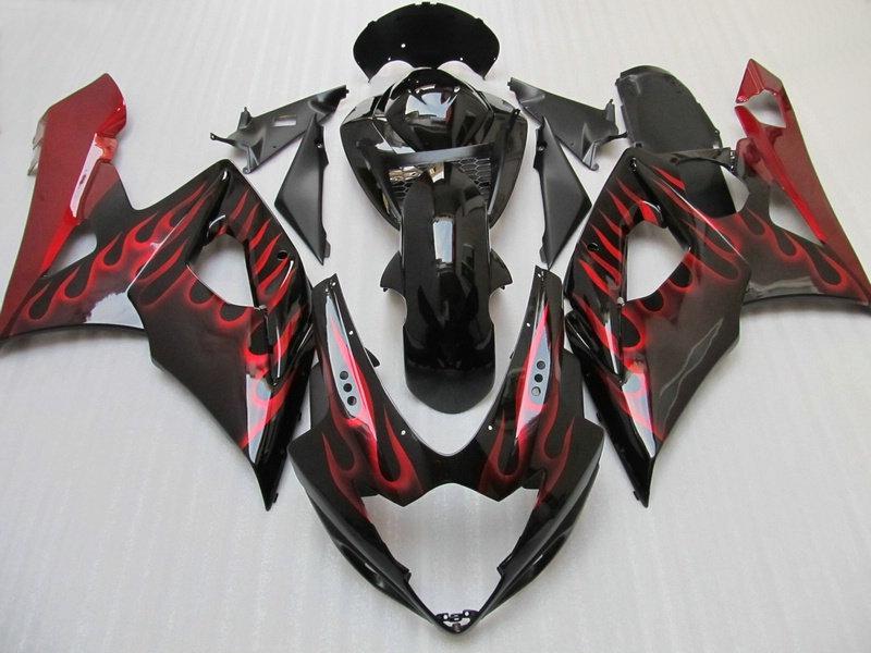 Red flame in black fairing kit for suzuki GSX-R1000 2005 2006 7 Gifts + Seat Cowl K5 GSXR1000 GSXR 1000 05 06