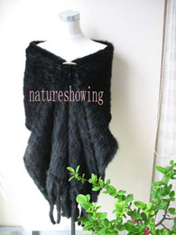 Wholesale Women Sophisticated Fashion - winter opulent sophisticated smooth calming real fully knitted brand new  190*36Wonderful real mink fur cape Black