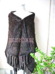 Wholesale Mink Fur Capes - free shipping wholesale women's real mink fur cape dark brown3#