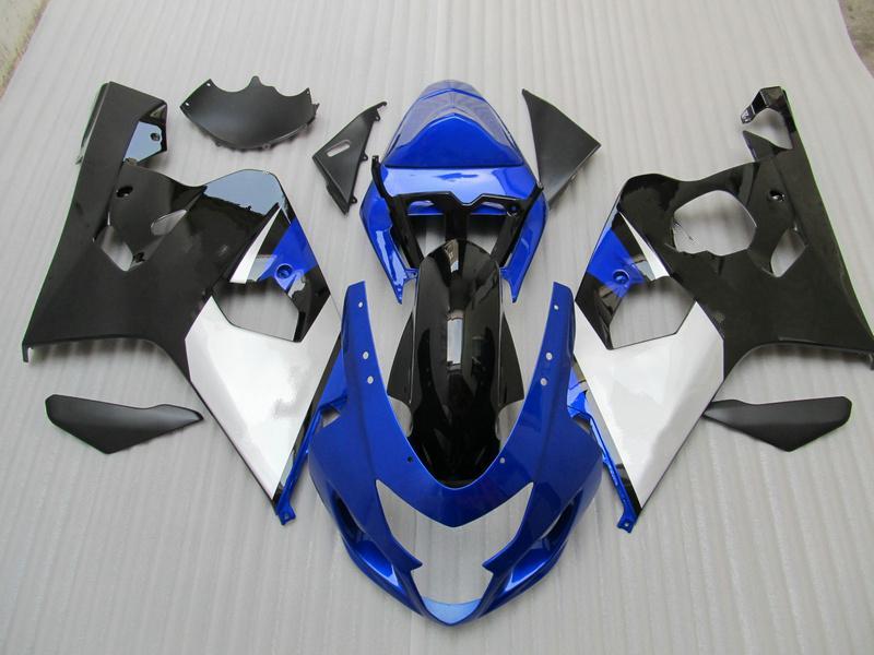 Silver Blue Black Bodywork Body för GSXR600 GSXR750 2004 2005 GSXR 600 750 K4 Fairing Kit + Present