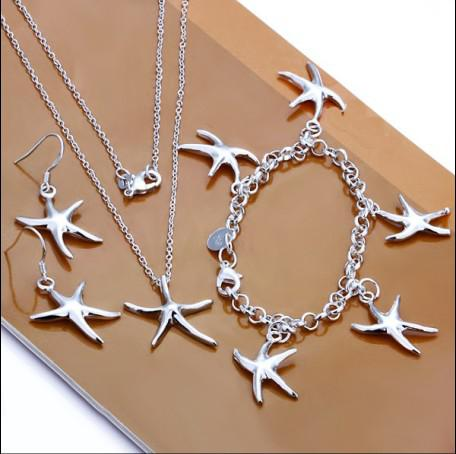 high quality 925 Silver starfish pendant necklace bracelet and earrings charm jewelry set women 5set Factory cheap wholesale