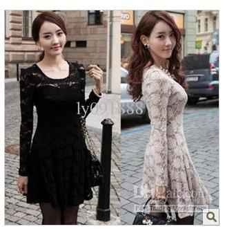 Bud Silk Flowers Perspective Sexy Base Long Sleeve Dress Han Edition Spring New Women's Best Quality