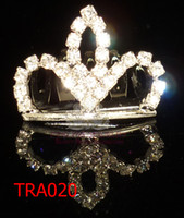 Wholesale Crowns Tiaras Childrens - Crystal mini tiara baby crown tiara childrens hair accessories 12pcs lot assorted styles