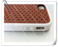 Wholesale Silicone Case Iphone Waffle - 2012 HOT VERSION waffle Sole Grip Case Cover Rubber Skin for iphone 4 4G 4s with retail package