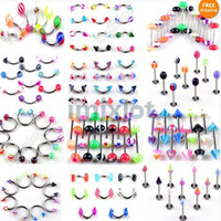 Wholesale navel belly jewelry - 120X Body Piercing Jewelry Belly Navel Rings Eyebrow Tongue Rings Imixlot Body Jewelry[BA03 04 06 08 10 12 13 15-17 20 21)]