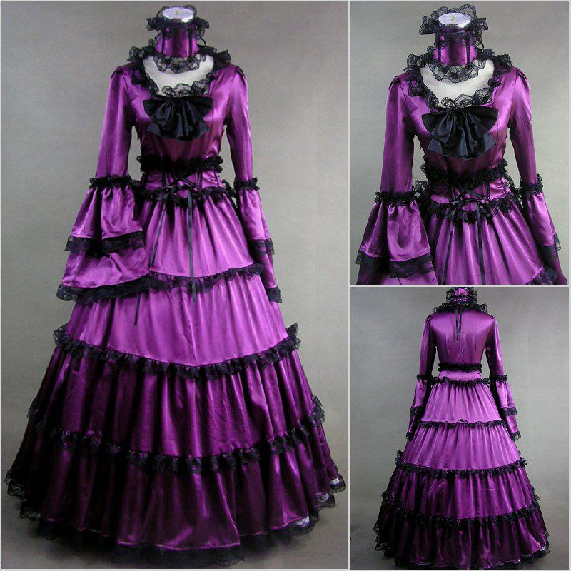 Vintage Purple Gothic Ball Gown Wedding Dresses With Cloak: 2017 Fall Cheap Vintage Bow Ruffle Long Sleeves Purple