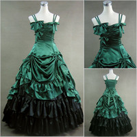 Wholesale Cheap Vintage Victorian Dresses - 2016 Green and Black Sexy Spaghetti Strap Long Fall Cheap Gothic Victorian Ball Gown Wedding Dresses