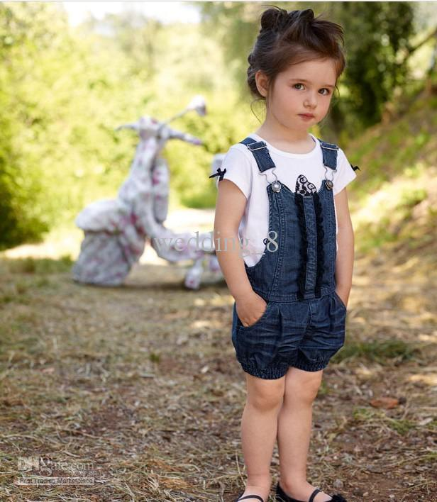 Baby Girls Suit Kids Children T Shirt + Denim Overall ...