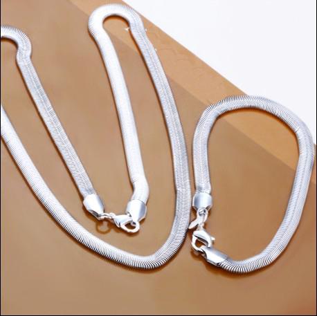 Best-Selling 6mm Snake Chain Ketting Armband Charm Sieraden Set Mode-sieraden Gratis verzending /