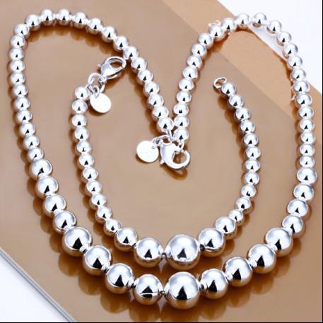 100% new high quality 925 silver charm beads necklace bracelet Jewelry Set