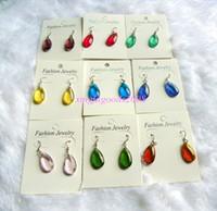 Wholesale Drop Murano Earrings - Earrings Jewelry lots Mixed Color 100pairs Drop Murano Glass bead 18K Earrings