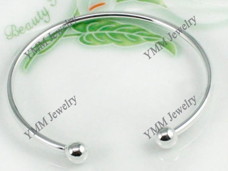 Promotionele Verzilverde Charm Armbanden, Openbare Beaded Bangle Gratis verzending