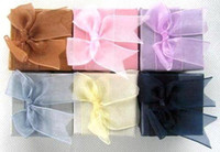 Wholesale Ring Box Ribbon - 48pcs Fashion Jewelry Ring Display Wedding Gift Box bow-knot Ribbon Top 5x5cm