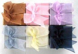 Wholesale Wholesale Ribbon Earrings - 48pcs Fashion Jewelry Ring Display Wedding Gift Box bow-knot Ribbon Top 5x5cm