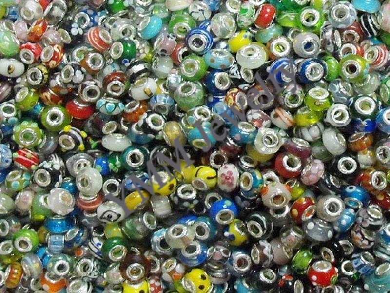 Goedkoopste lampwork glas kralen gratis verzending, fit Europese stijl bedelarmbanden, kralen armbanden / groothandel