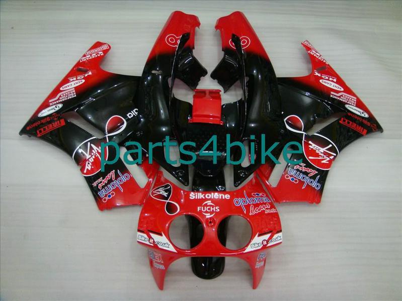 Honda VFR400 NC30 VFR 400 VFR30 NC 30 1989-1993 RVF 400RR MC30에 맞는 레드 블랙 페어링 키트