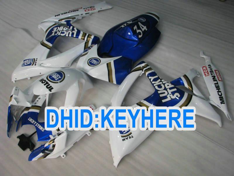 Kit de carrocería de motocicleta de molde de inyección Blue Lucky Kit de carenado de competición de huelga para Suzuki 2006 2007 GSXR600 750 GSX R600 R750 06 07 CARENADOS