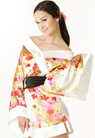 Wholesale Japanese Yukata Costumes - Sexy Printed Silk Satin Yukata Japanese Kimono Lingerie sleep costumes Mini Dress 3 Colors