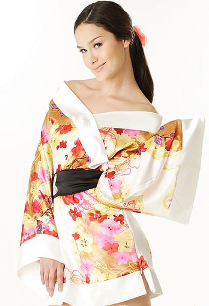 Sexy Impresso De Cetim De Seda Yukata Japonês Kimono Lingerie trajes de dormir Mini Vestido 3 Cores