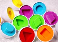 ingrosso giocattolo da cucina gratuito-Il trasporto libero 6 accoppiamenti dell'uovo di puzzle abbina le forme Accoppiamento del bambino Kid Wise Smart Learning Kitchen Toy