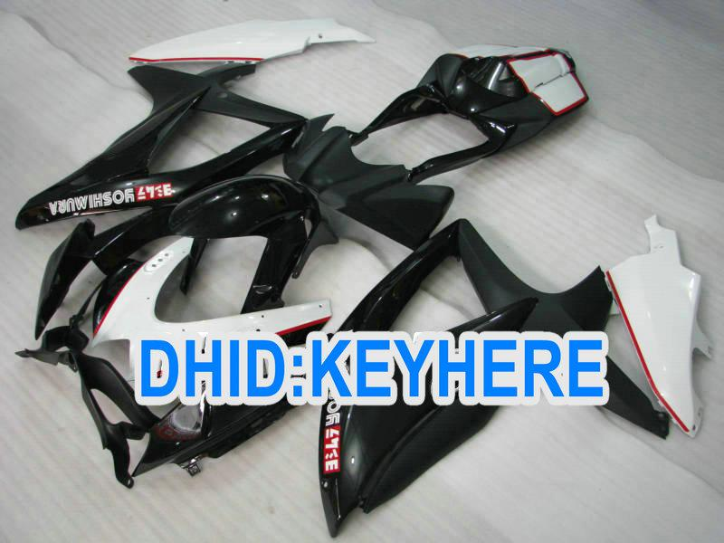 SNL83 Black white men racing carenagem kit para Suzuki 2008 2009 GSXR600 750 K8 GSX R600 R750 08 09