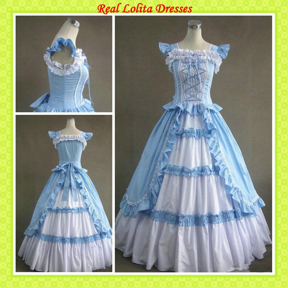 Gothic victorian dresses white at to and blue