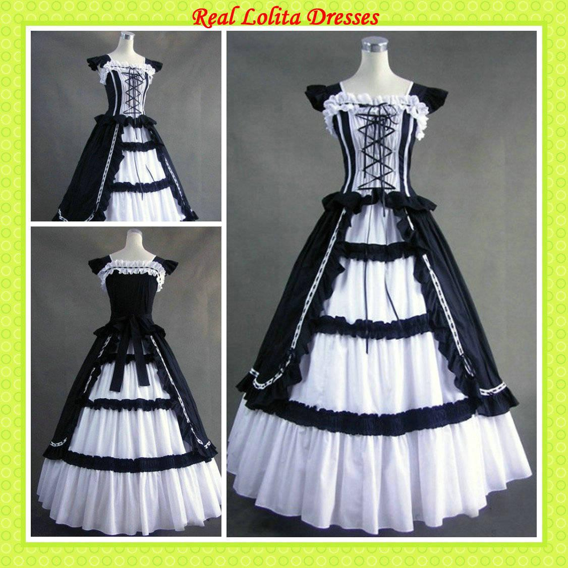 Discount Black And White Gothic Wedding Dresses Real: 2016 Cheap Black And White Real Samples Lolita Dresses
