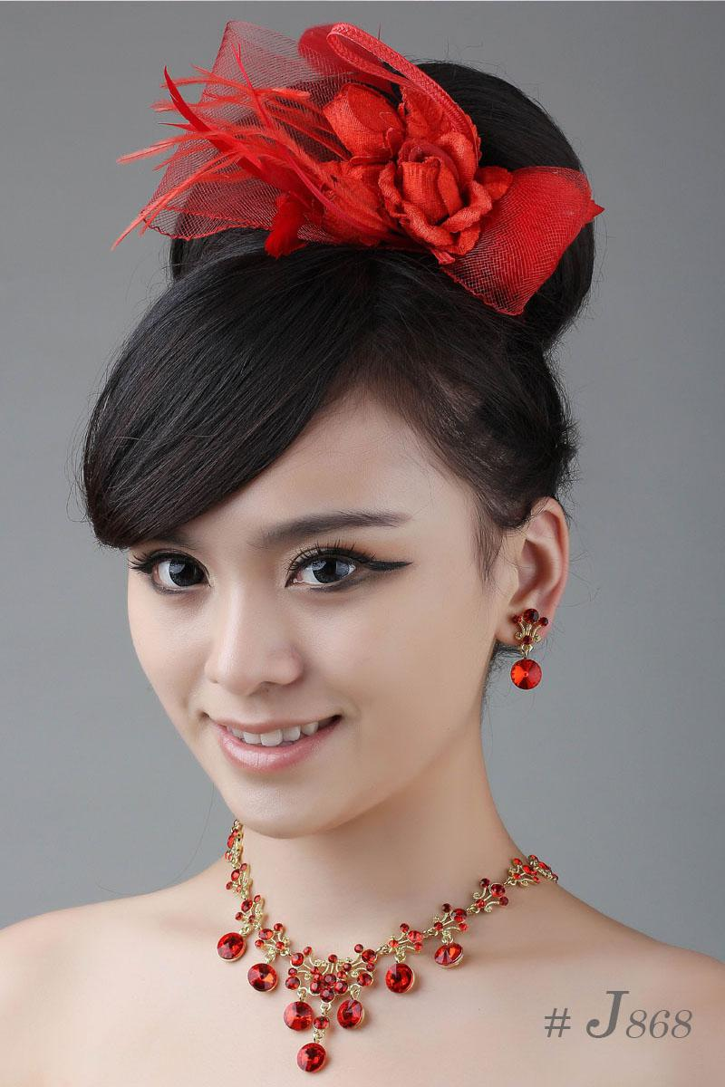 hot sale bridal jewellery sets red feather hair accessories
