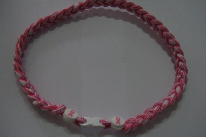 음이온 Healty 이오니아 스포츠 목걸이 유방암 토네이도 티타늄 목걸이 Pink 리본 목걸이