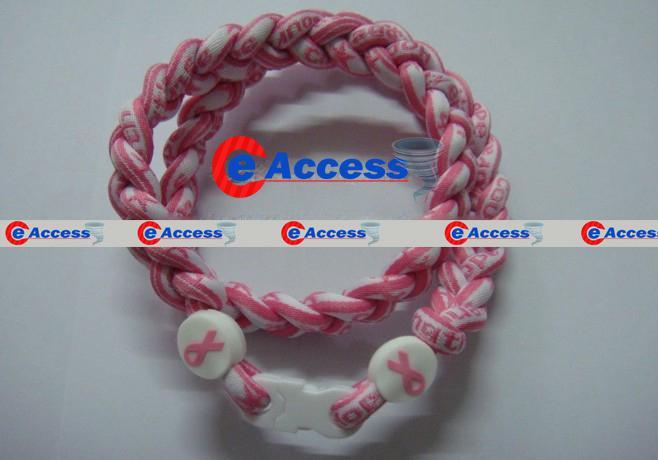 Anion Healty Ionic Colares de Esportes Câncer de Mama Tornado Titanium NecklacePink Ribbon Necklace