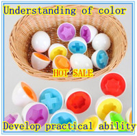 Wholesale smart eggs - Free Shipping 12pcs Shape Wise Pretend Puzzle Smart Eggs Baby Kid Learning Kitchen Toys Tool Gift