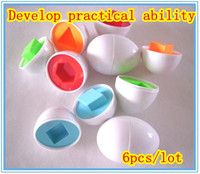 Wholesale Egg Shape Puzzle - Free Shipping 24pcs Shape Wise Pretend Puzzle Smart Eggs Baby Kid Learning Kitchen Toys Tool
