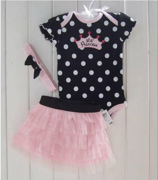 Roupa do bebê Sey Bebê Romper + Menina Bll Gwon + faixa de cabelo 3 pcs conjuntos de roupas Menina Babys Vestido Babys Wear