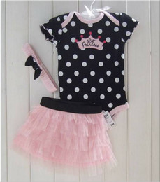Wholesale Baby Clothing Sey Baby Romper Girl Bll Gwon hair band clothing sets Girl Babys Dress Babys Wear