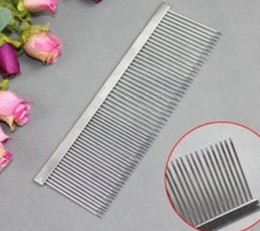 Wholesale Stainless Steel Dog Teeth - Long teeth single line dual density stainless steel beauty hair dog comb, pet clean comb L