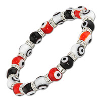 MAUVAIS EYE LAMPWORK CRAVATE DE VERRE TURKISH NAZAR GRECE BRACELET DE STRETCH GRIS 8mm Blanc Noir Rouge