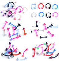 Wholesale Uv Navel Belly Ring - Eyebrow Navel Belly Bar Rings 300X Body Pierce UV Flexible Labret Lip Imixlot Body Jewelry