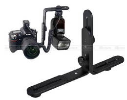 Wholesale pentax camera flash - Universal Adjustable Dual L Flash Bracket for Canon Nikon Pentax Olympus Camera Flash Light Holder