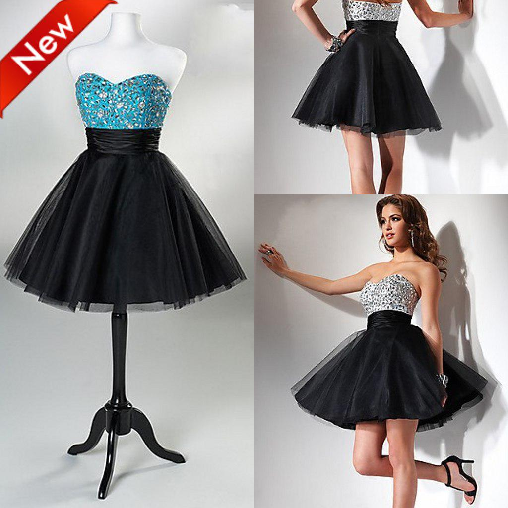 Black Sweetheart Ball Gown Short Prom Dresses Organza Sleeveless ...