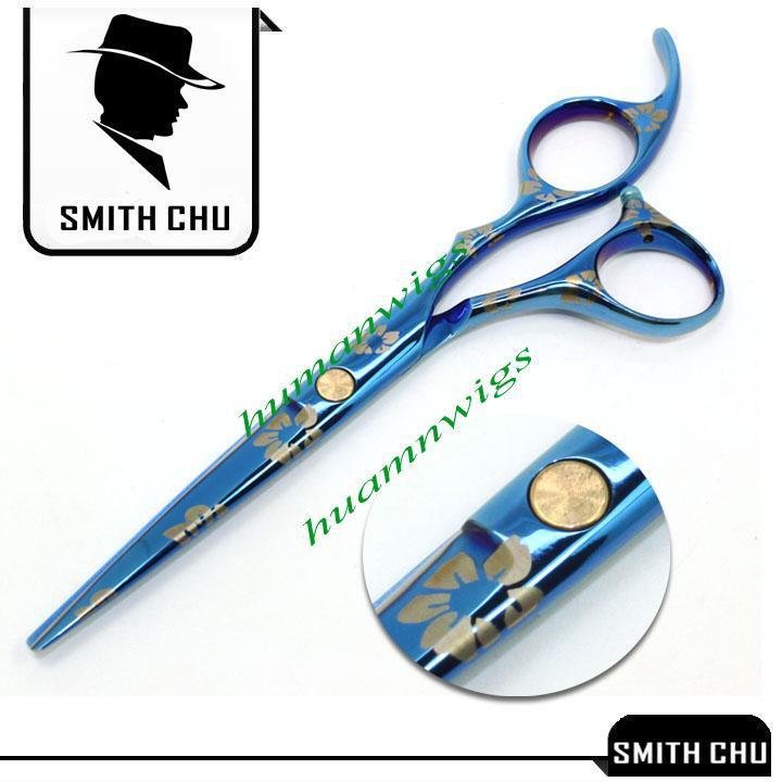 Menschenhaarschere 6.0 ZOLL Cutting Effilierschere Anzug Blau Sakura Muster SMITH CHU JP440C NEU LZS0009
