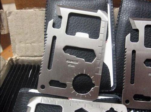 가죽 케이스 + 카드 나이프 긴급 서바이벌 나이프 미니 멀티 도구 스위스 스테인레스 스틸 생존 11 in 1 Card tools