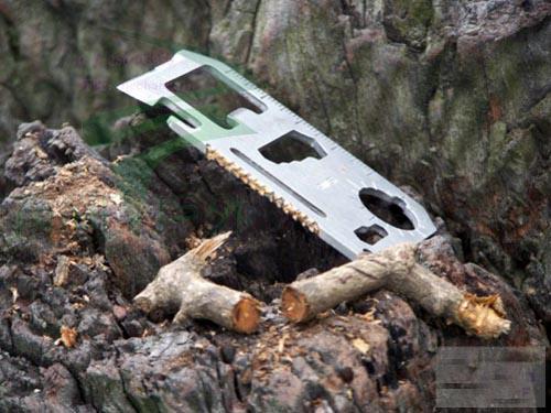 Funda de cuero + Cuchillo de tarjeta Cuchillo de supervivencia de emergencia Mini Herramienta múltiple Acero inoxidable suizo Supervivencia 11 en 1 Herramientas de tarjeta